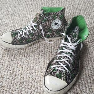11 graphic print Converse hightops Chuck Taylors